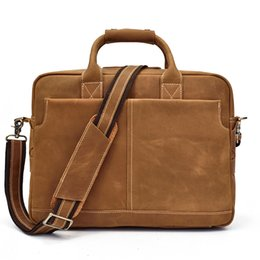Discount large leather laptop bags - Large Capacity Men Business Briefcase 15inch Laptop Handbag Vintage Soft Crazy Horse Genuine Leather Big Shoulder Messen