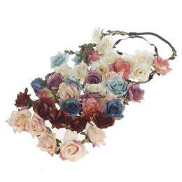 China 1 pc Wedding Bride Rose Flower Crown Hairband Wedding Flower Headband Garland Festival wreath Elastic Hair Accessories cheap elastic wedding headband suppliers