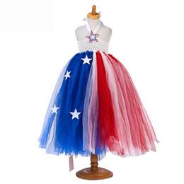 $enCountryForm.capitalKeyWord NZ - Girls Fashion Big Star Halter Tulle Red Blue Patchwork Tutu Dresses American Independence Day Dresses Halloween Cosplay Dresses LA773