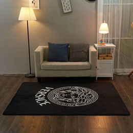 Fabric Boutique Australia - Nordic Goddess Black Carpet Luxury Design Brand Boutique Wood Floor Mat Family Antiskid Sofa Soft Yoga Mat