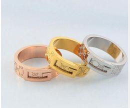 Großhandel Art und Weise jewerly berühmte Marke Edelstahl 18K vergoldet Splitter Ring für Frauen Mann Hochzeit Ringe Rose Gold vergoldet Schmuck Geschenk