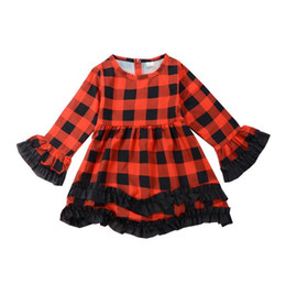 $enCountryForm.capitalKeyWord NZ - Kid Babys Girl clothes Dress Christmas Red Plaid Tutu Dress Toddler Kids Princess Long Sleeve Plaids Party Pageant Dresses kids clothing