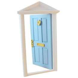 Online Shopping ABWE Best Sale Dollhouse Miniature Panel Exterior Wooden  Door Steepletop With Hardware Knockplate Letter