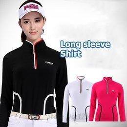 PGM Camisa Das Mulheres Vestuário de Golfe Outono Manga Comprida T-shirt de Cintura Fina Gola de stand-up roupas de Golfe de Alta qualidade