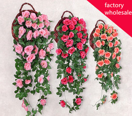 red flowering vines NZ - 19 heads Artificial Hanging Garland Flowers Wedding & Party Decor Flower String Big Rose Flower Rattan Plant Vines Wall