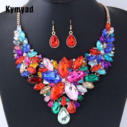 Flower Dress Set NZ - Kymyad Jewelry Sets For Women Crystal Flower Necklaces & Pendants Bridal Wedding Jewelry Set Luxury Dress Necklace Earrings Set