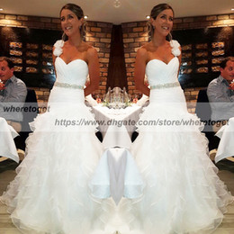 $enCountryForm.capitalKeyWord NZ - Country ruffles organza wedding dress mermaid flowers modest one shoulder crystals sash lace up corset tiered skirt bridal gowns plus size