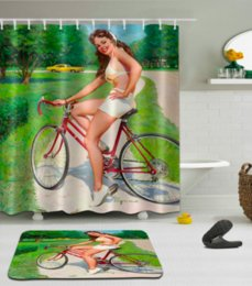 3d bathroom shower curtains NZ - 3D Bicycle girl Print Pattern Irish Decorations Waterproof Bathroom Decor Fabric Shower Curtains Floor mats sets