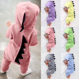 dinosaur baby romper NZ - Newborn Infant Baby Boy Girl Dinosaur Hooded Romper Jumpsuit Outfits Clothes Kawaii Solid Clothing jumpsuit For Unisex