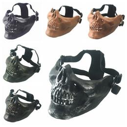 Discount skull half face paintball mask - 1 PCS Cycling Mask Skull Skeleton Paintball CS Game Half Face Protect Mask Halloween half face protective masks