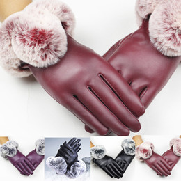 Black Leather Tactical Gloves NZ - Women Lady Black Leather Gloves Autumn Winter Warm Rabbit Fur Mittens guantes invierno mujer luva motociclista tactical gloves10
