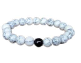 Alloy bAlAnce online shopping - 12pcs White howlite black onyx bracelet healing balance bracelet howlite stretch white stone bracelet gift idea