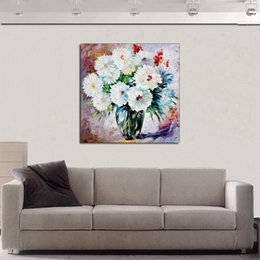 $enCountryForm.capitalKeyWord Australia - Modern Knife Oil Painting on Canvas Handmade Colorful Attractive Flowers Plants Wall Picture for Living Room Bedroom Wall Decor