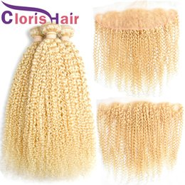 Discount afro kinky hair extensions 613 - 613 Kinky Curly Human Hair 3 Bundles Raw Indian Peruvian Virgin Blonde Hair Weaves With Lace Frontal Closure 13x4 Afro K