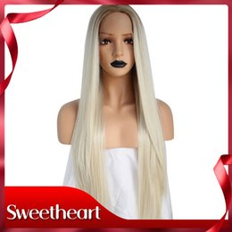 straight blonde wig roots 2018 - Sweetheart 2 Tones Natural Long Straight Platinum Blonde Ombre Dark Roots Middle Parting Heat Resistant Synthetic Lace F