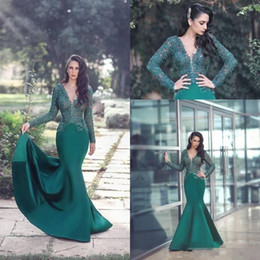 Discount cheap emerald prom dresses - 2018 New Sexy Emerald Green Prom Dresses V Neck Long Sleeves Illusion Mermaid Lace Appliques Beaded Satin Evening Dress
