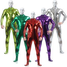 $enCountryForm.capitalKeyWord Australia - S-3XL Adult Men Metallic Lycra Cosplay Halloween Party Show Without Hood Zentai Jumpsuit Bodysuit Suit Unitard Plugsuit