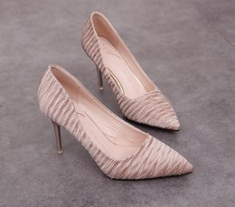 2034d263dc576 Nude Satin Shoes Canada - New style Fashion Office & Career pointed toes  High-heel