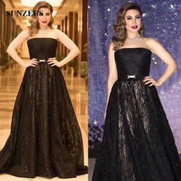 d4b85158526d A-line Strapless Women Black Evening Dresses Pleated Tulle Long Lace Formal  Gowns With Sequins Sparkle Celebrity Party Gowns