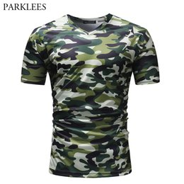 Discount camouflage v neck t shirts - Tactical  Camouflage V Neck T Shirt Men 2018 Brand New Army Combat T-shirt Men Short Sleeve Outwear Tops Tee Shirt Homme