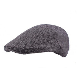 e2baaf28931 New Fashion Wool Felt Mens Berets Winter Warm Striped Flat Caps High  Quality Cabbie Newsboy Driver Ivy Caps for Men
