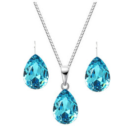 $enCountryForm.capitalKeyWord Australia - Crystal Necklace Drop Earrings Set Sterling Silver Pendant Clavicle Chain Long Dress Dinner Jewelry Birthday Gift