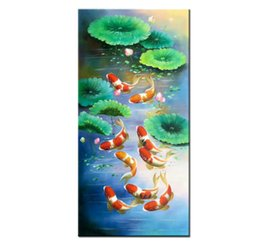$enCountryForm.capitalKeyWord NZ - China wind Koi Art Wall Art Feng Shui Fish Oil Painting 100% Hand Painted Animal Modern Canvas Living Room Bedroom Home Decoration AFS021