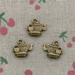 Wholesale Teapot Necklace NZ - 104pcs Charms teapot 13*15mm Antique Bronze Vintage Pendants For Jewelry Making DIY Bracelet Necklace