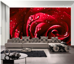Custom Photo Wallpaper Beautiful Bright Red Water Rose TV Setting Wall