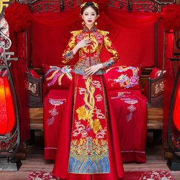 8ffa1e7c7 Traditional Chinese Wedding Gown Dress Women Cheongsam Embroidery Dragon  Phoenix Qipao Oriental Party Dresses Red Qi Pao
