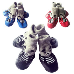 wholesale red shoes Australia - Pet Boots Dogs Socks S M L Size Dog Waterproof Rain Shoes Non-slip Rubber Puppy Shoes 4 Pieces Set Blue Red Black