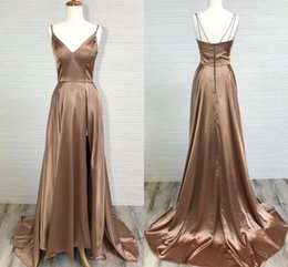 Spaghetti Side Slit lace online shopping - Chocalate Satin Long Prom Dresses V Neck Spaghetti Straps Slit Side Backless Formal Evening Dresses Sexy Simple Party Dresses Sweep Train