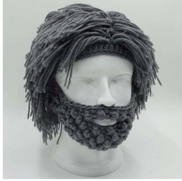Crochet Ski Mask Australia - NaroFace Handmade Knitted Men Winter Crochet Mustache Hat Beard Beanies Face Tassel Bicycle Mask Ski Warm Cap Funny Hat Gift New