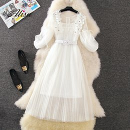 Wholesale Fashion Net Yarn Pleated Women Dress Set New Summer Short Sleeve Lace Patchwork Nail Beads Slim Party Set Korean