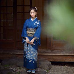 evening women costume 2018 - Japanese Women elegant Kimono blue Vintage Original Tradition Yukata Novelty Evening Dress Japanese Cosplay Costume chea