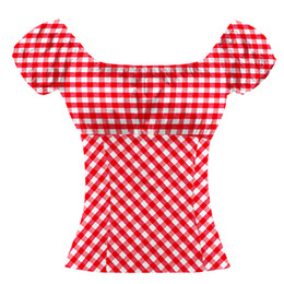 cotton puffed sleeve blouse UK - Red Checked Ruffled Blouse Bohemian Vintage Plaid Shirt Cotton Top Peasant Top For Women