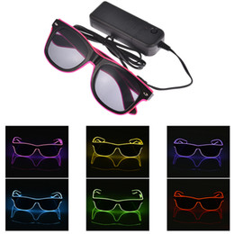 LED Flashing Glasses EL Wire LED Glasses Glowing Party Supplies Lighting Novelty Gift Bright Light Festival Party Glow Sunglasses on Sale