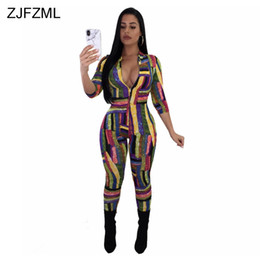 $enCountryForm.capitalKeyWord NZ - ZJFZML Colorful Geometric Striped Sexy Party Jumpsuit Women Front Zipper V Neck Skinny Romper Casual Half Sleeve Long Overalls