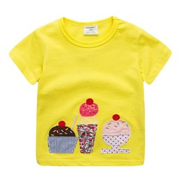 e71e41fec4b Hot Selling Baby Girl Cartoon Ice Printing Suits Children Lovely Short  Sleeve T-shirt 1-6Years Children Kids Casual Clothes