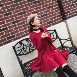 78f564f9e42 La dernière robe rouge de DE Photos de la mode pour femmes pour l hiver  avec manches longues robe en laine tricotée