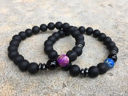 Hematite Jewelry Sets NZ - 2 Pc Set bracelets Distance Bracelets Blue And Purple Stack Bracelet Hematite Wrist Bracelet Yoga Mala Jewelry Unisex Jewelry