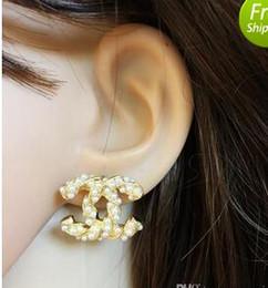 Großhandel Neue Luxusmarke Designer Ohrstecker Buchstaben Ohrstecker Ohrring Gold Silber Schmuck Zubehör Geschenk für Frauen Mädchen Freies Verschiffen