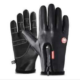 Leather Gloves For Men Australia - Waterproof gloves for outdoor sports men and women winter whole finger mountaineering prevent cold and keep warm antiskid