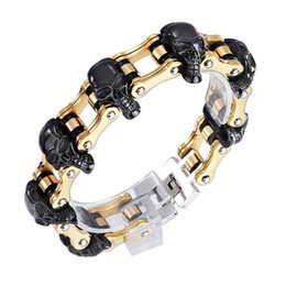 $enCountryForm.capitalKeyWord Australia - 18mm 22-23cm Boys Mens Punk Skull Black Gold Silver Tone Bicycle Biker Motorcycle Link Chain 316L Stainless Steel Bracelet Jewelry