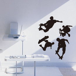 nursery wall stickers for boys Australia - Skateboarding Wall Decal Sticker for Kids Boys Girls Room and Bedroom Skating Wall Art for Home Decor Skate Board Silhouette Mural