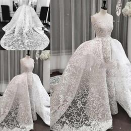 Strapless Full Skirted Wedding Dress Australia - 2019 Elegant Dubai Full Lace Wedding Dresses With Saudi Arabic Strapless Sweep Train Bridal Gowns Over-Skirt Appliques Wedding Gowns
