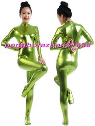 sexy green catsuit 2019 - Sexy Body Suit Costumes Unisex Grass Green Shiny Metallic Suit Catsuit Costumes No Head Hand Halloween Fancy Dress Cospl