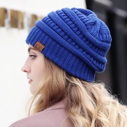 f011faf489c Drop Shipping CC Beanie Women Cap Hat Skully Trendy Warm Chunky Soft  Stretch Cable Knit Slouchy Beanie Winter Hats Ski Cap 2018