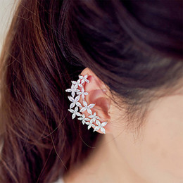 Gold plated ear cuffs online shopping - TOMTOSH Crystal Floral Design Ear Cuffs Zircon Earrings