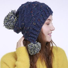 57c004d2e69 China Fashion Winter Warm Pom Pom Ball Bobble Hat Women s Knitted Beanie  Cap Xmas Gift cheap